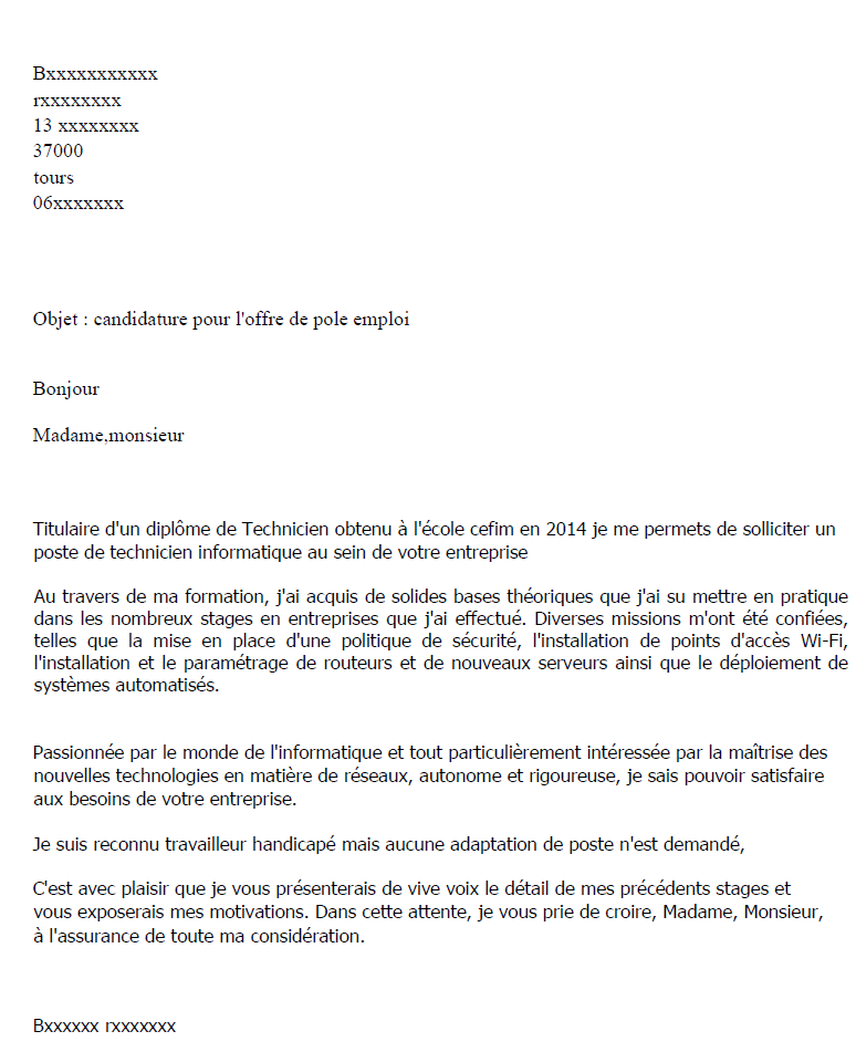 courrier cessation de contrat
